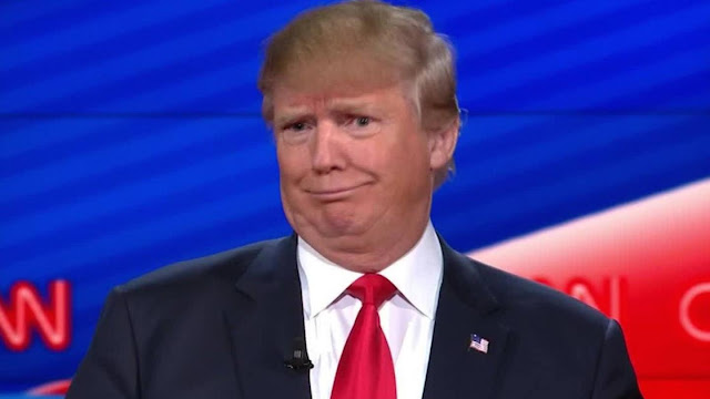 "Donald Trump making the ""dumb"" face from Republican television debate in 2015. I am not a crook . . . by today's standard. marchmatron.com"