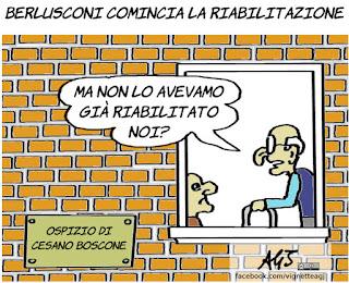 Berlusconi, cesano boscone, operazione, riabilitazione, vignetta, satira