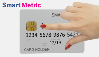 photo of the SmartMetric biometric credit card with fingerprint scanner