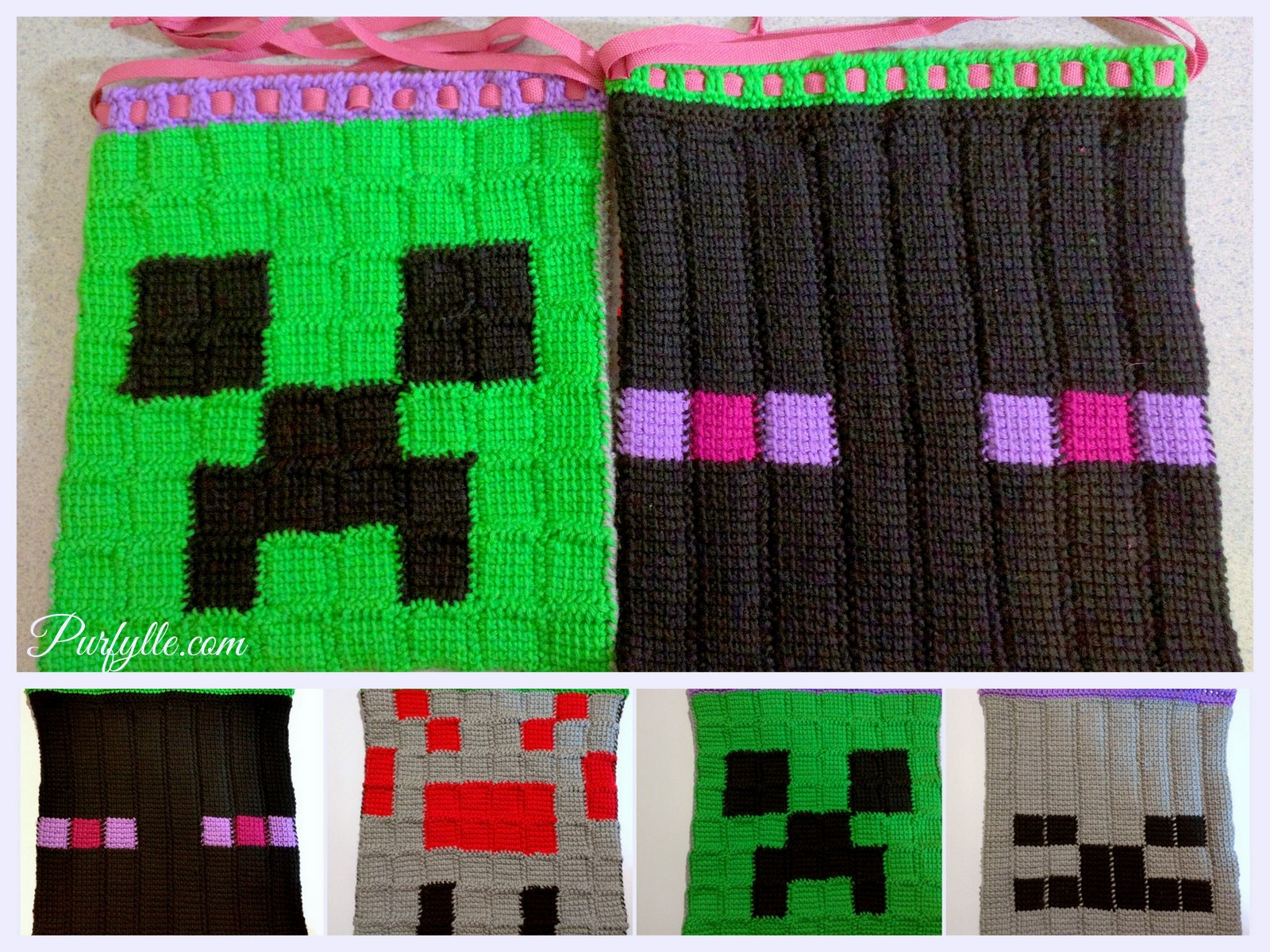Purfylle: Minecraft Characters Tunisian Crochet Drawstring Bag Pattern for Minecraft Characters Pictures  45gtk