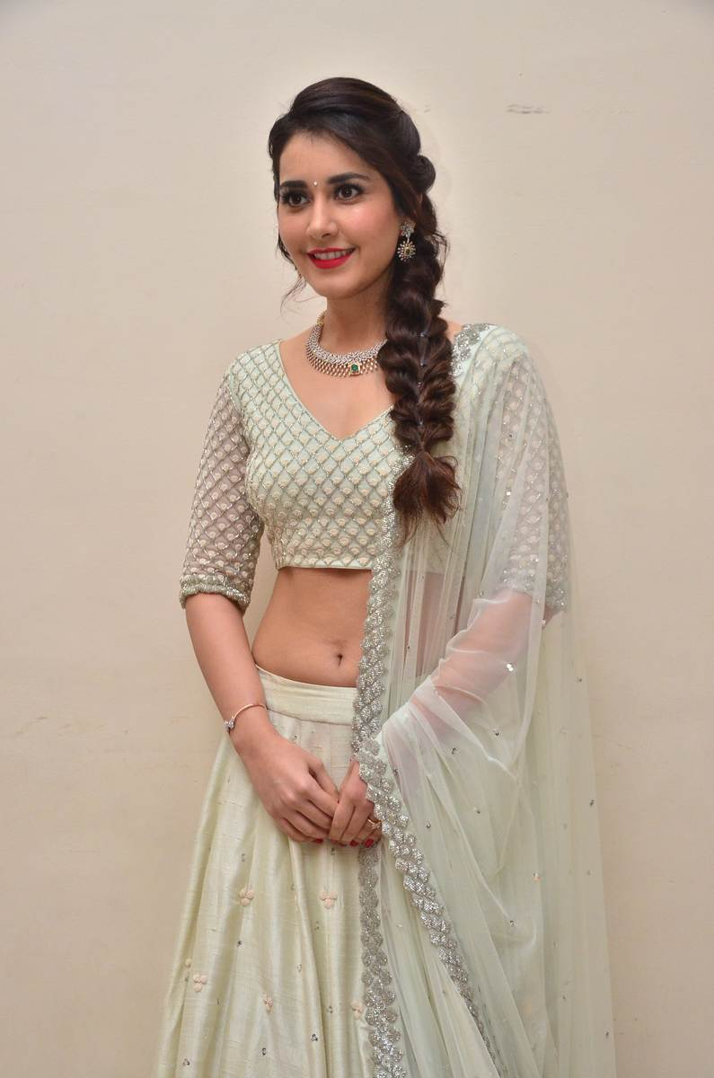 Raashi Khanna White In Blue Lehenga choli
