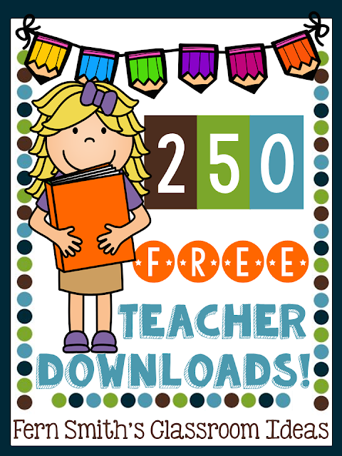 Looking to amp up your teaching files? My blog now has over 250 FREE teacher downloads available to help you spend more time away from school and with your family and friends! Be sure to come back each Friday to see what's new! Find free downloads and teacher resources for kindergarten, first grade ,second grade, third grade, fourth grade, and fifth grade elementary school teachers for all subject areas! From Fern Smith #FernSmithsClassroomIdeas