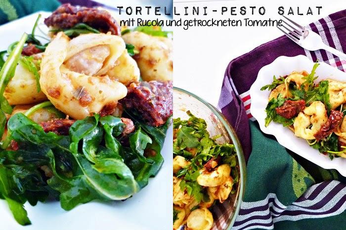 Tortellini-Pesto-Salat mit Rucola und getrockneten Tomaten