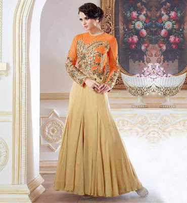 Gorgeous camel color Indian wedding gown with full sleeve.