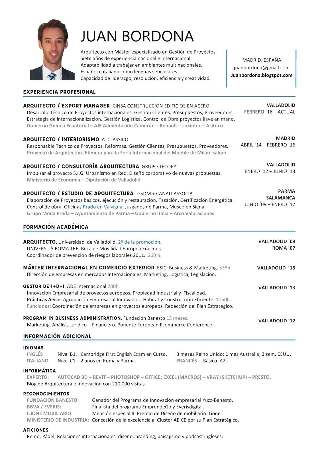 Curriculum Vitae Arquitecto Juan Bordona | Juan Sanchez-Bordona