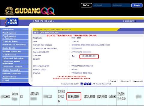 Selamat Kepada Member Setia GudangQQ WD sebesar Rp. 12,100,000.-