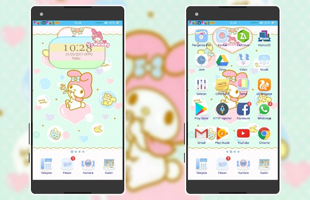 Download Tema Oppo A39 Terbaru dan Terkeren - Anime Hello Kitty Melody