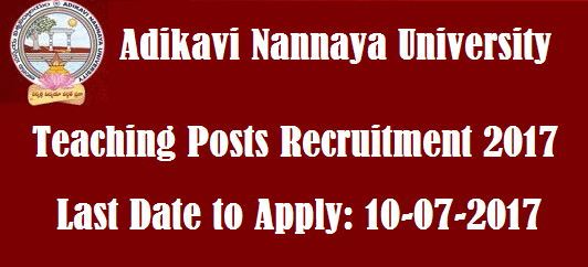 AP State, AP Notifications, ANUR Recruitment, Teaching Faculty, Adikavi Nannaya University, Ad-hoc Faculty