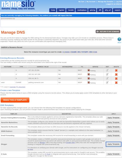 """Desde """"Manage DNS"""" puedes dar directamente configirar DNS para blogger"""