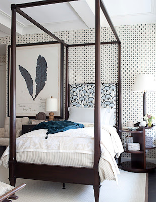 chic small bedroom with canopy bed via belle vivir blog