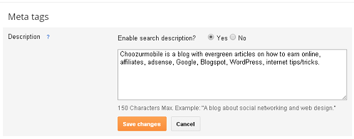 Blogger Search Description