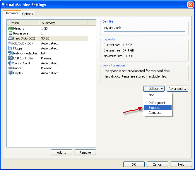 How to expand a virtual disk in VMware workstation ~ Testools