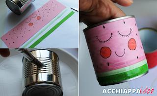tutorial barattolo di latta disegno anguria kawaii portapennarelli e colori
