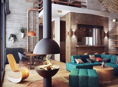 desain ruang tamu industrial