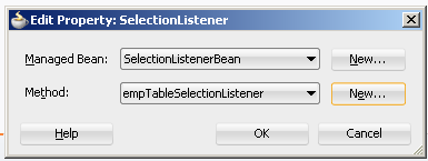 Create custom selection listener in managed bean to handle selection event on af:table