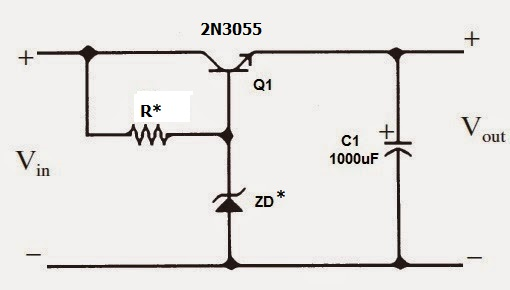 High current voltage regulator using zener diode and power