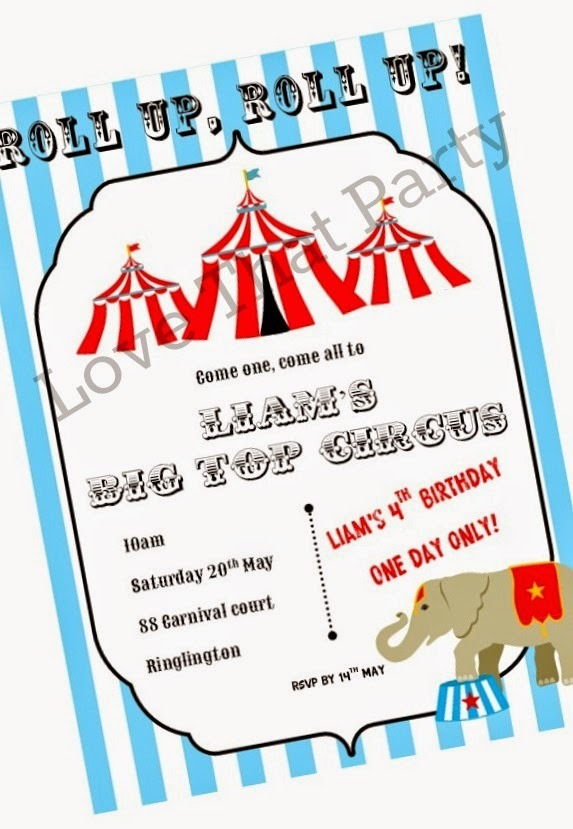 Personalised printable Circus birthday party invitation for kids. Print it yourself, so easy! From Love That Party