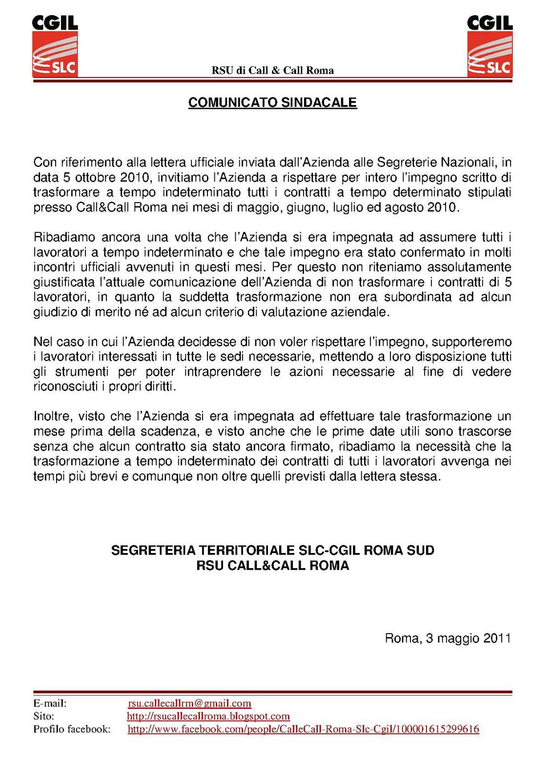 Rsu Call Call Roma Trasformazione Contratti A Tempo