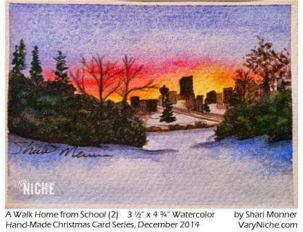 Watercolor Painting of a sunset behind a Calgary, Alberta skyline by Shari Monner, VaryNiche.com