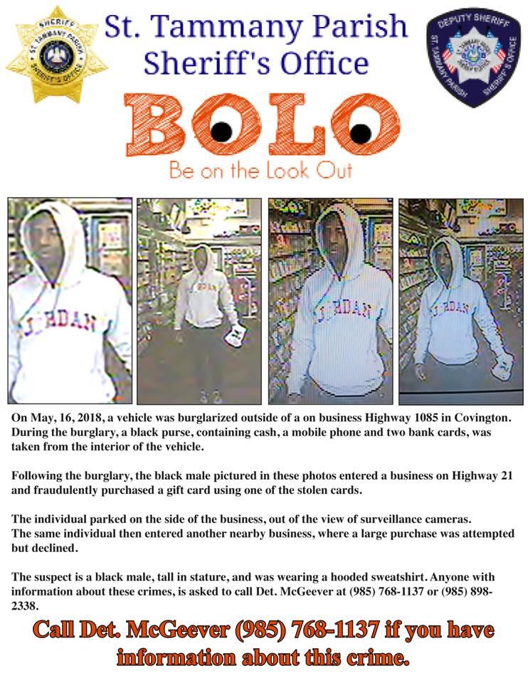 BOLO on a St. Tammany Burglar