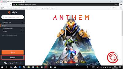 Setelah itu, pilih bagian Register untuk mendaftar dan membuat akun EA Origin