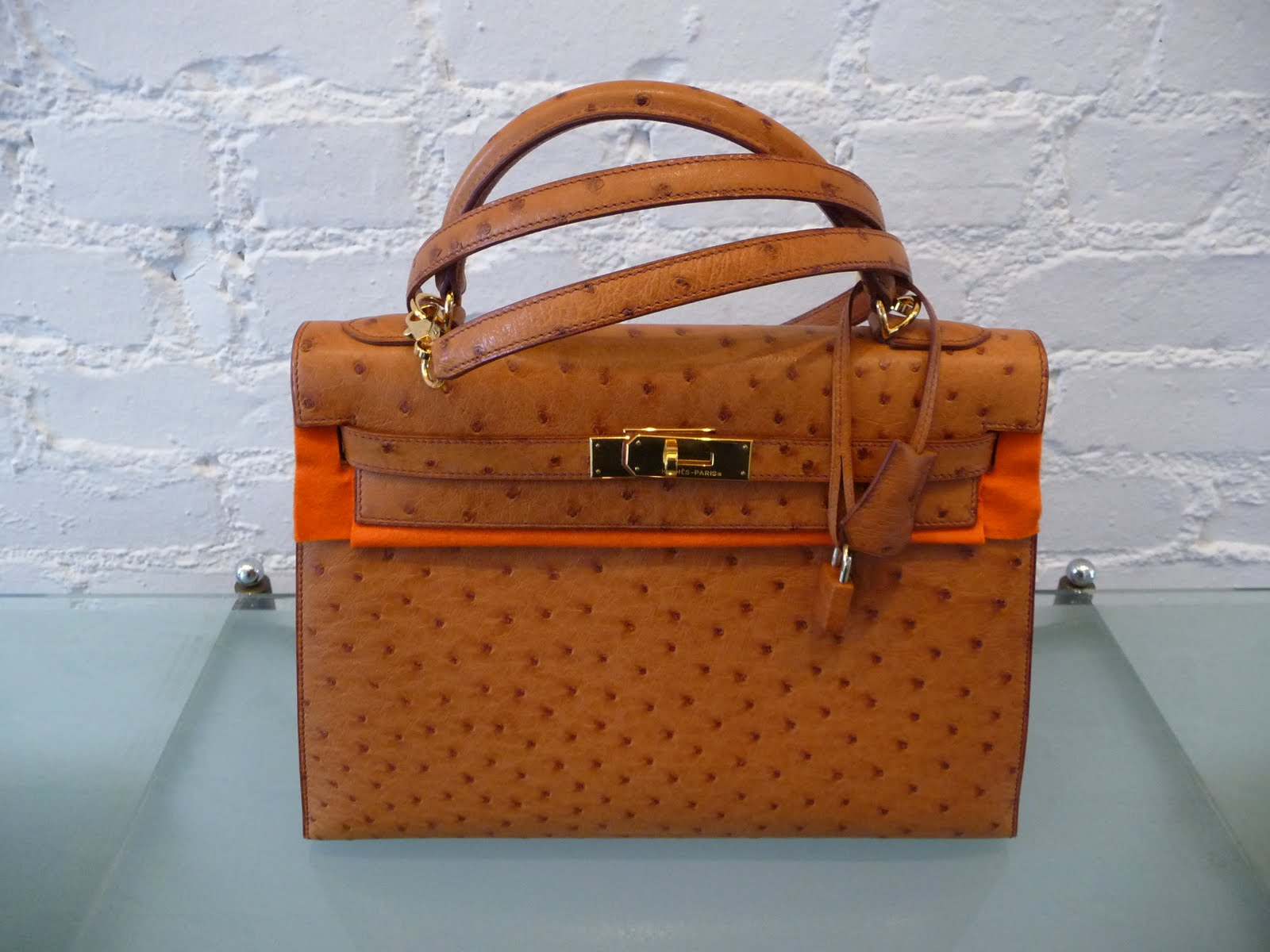 9b16a698d1c7  Daniel  Hermes 32cm ostrich gold Kelly with gold hardware