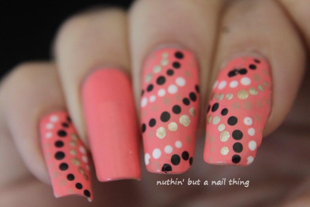 Coral polka dot nail art Coral polka dot nail art - Nuthin' But A Nail Thing: Coral Polka Dot Nail Art