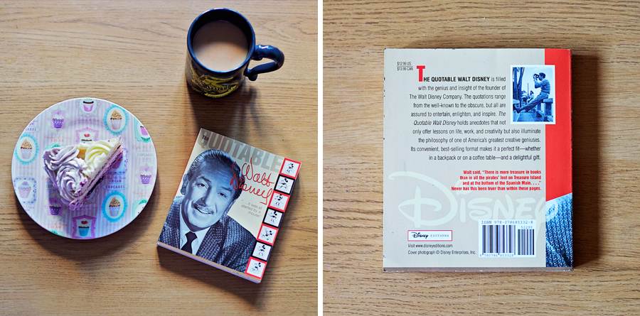 The Quotable Walt Disney Book flatly with tea and cake.