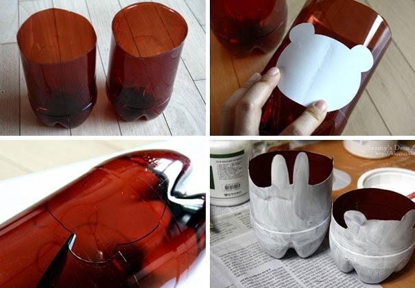 Crear soporte para maceta de animalitos reciclando botellas de plástico DIY