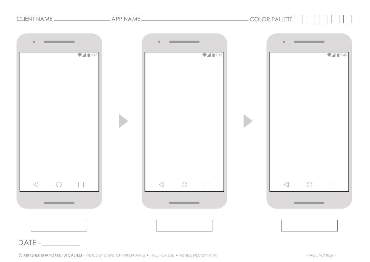ui castle nexus 6 android printable a3 screen flow sketch template. Black Bedroom Furniture Sets. Home Design Ideas