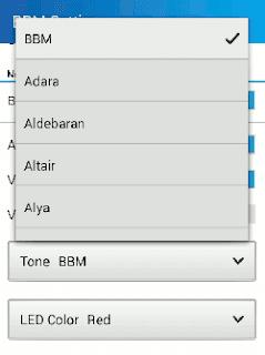 Beberapa nada dering yang tersedia pada aplikasi BBM Android