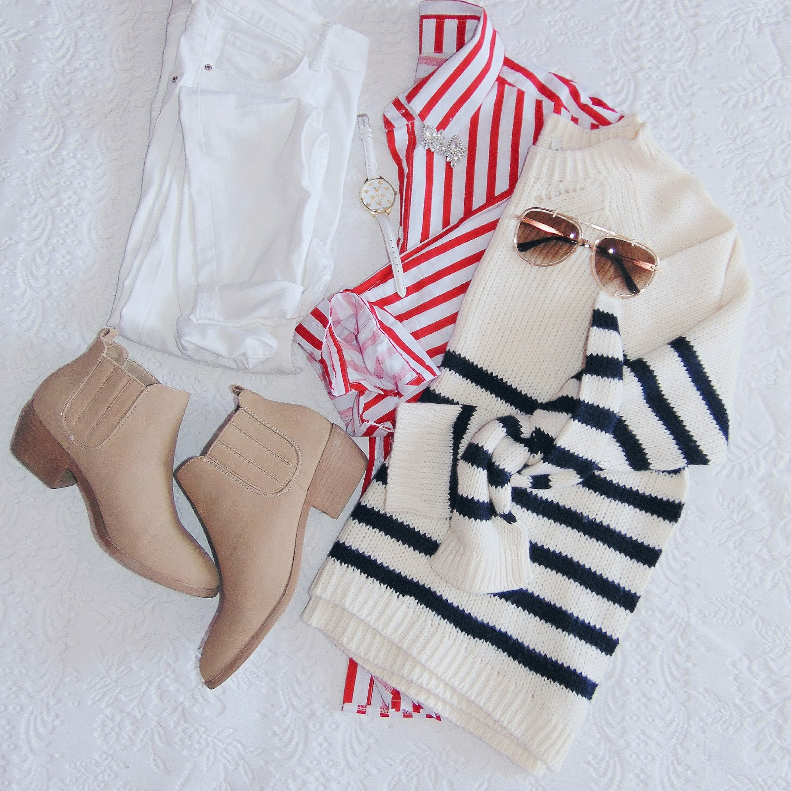 zaful outfit, red striped blouse