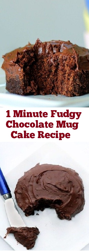 1 Minute Fudgy Chocolate Mug Cake | recipes chocolate | recipes cakes | recipes mug cake | recipes fudge | recipes dessert #fudge #chocolate #mugcake #easycake #dessert