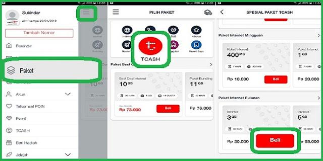 Trik #1 Paket Internet Murah Telkomsel Dengan TCASH Terbaru 2019 3
