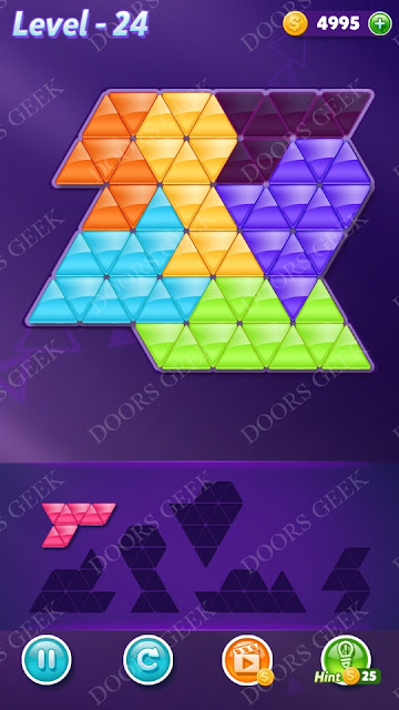 Block! Triangle Puzzle Intermediate Level 24 Solution, Cheats, Walkthrough for Android, iPhone, iPad and iPod