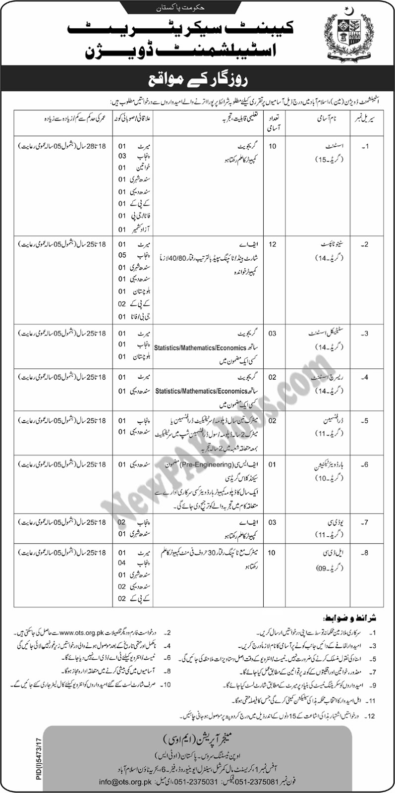 OTS Jobs in Cabinet Secretariat Establishment Division