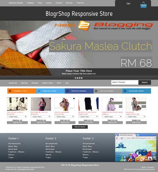 Blogrshop E Commerce Responsive Store Blogger Template Download