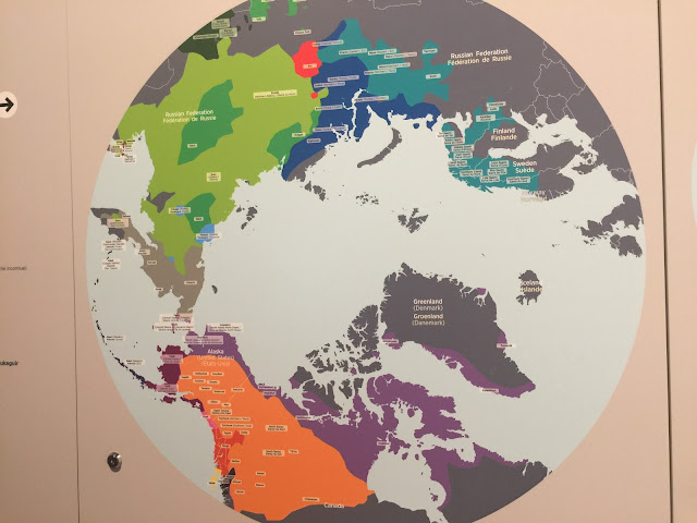 A map showing the Arctic Circle languages from The Canadian Museum of Nature's Arctic Circle Gallery