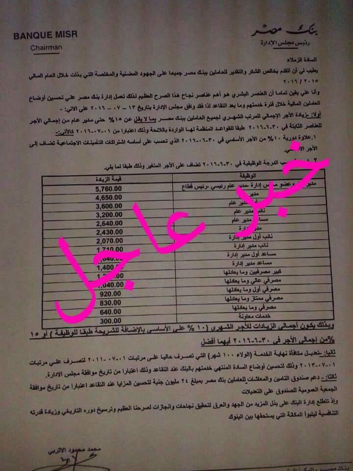 زيادة اجور العاملين ببنك مصر 10% واضافة 5760 جنيه شهريا والمعلمين كل شهر خصومات