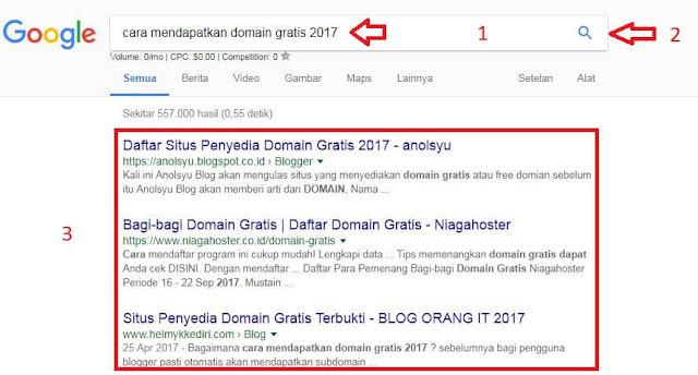 contoh pencarian google dengan kata kunci cara mendapatkan domain gratis 2017