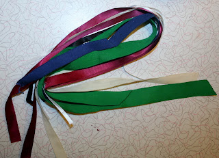multicolored lenths of ribbon for hair
