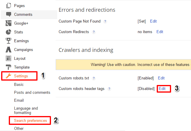 Custom Robots Header Tags Settings For Blogger