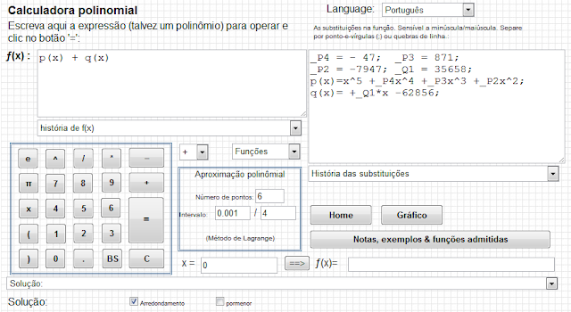 Calculadora polinomial online