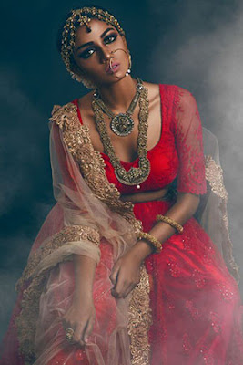 Stunning Photo Of Dark Indian Beautiful Model In Bridal Dress.