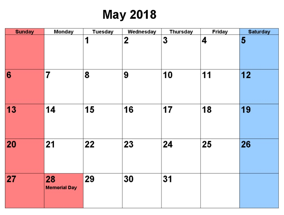may calendar printable 2018