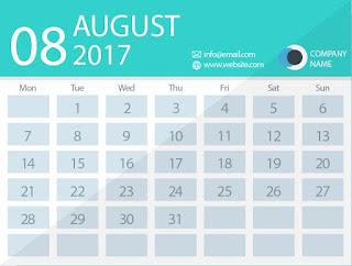 August 2017 timetable calendar
