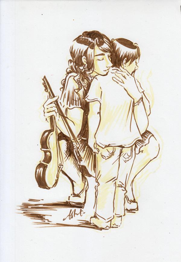 Cécile consolant Lancelot enfant - dessin d'une mère violoniste