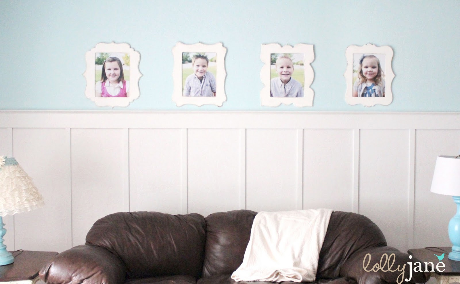 How to hang pictures with a pop tab the 1114 frames fit the wall space perfectly and is a cute way to display my 4 kiddos portraits and our how to hang pictures with a pop tab trick worked jeuxipadfo Choice Image