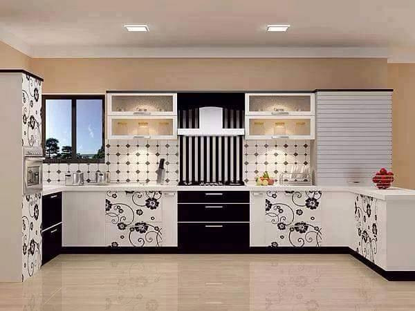 White pattern Shaker Kitchen Cabinets