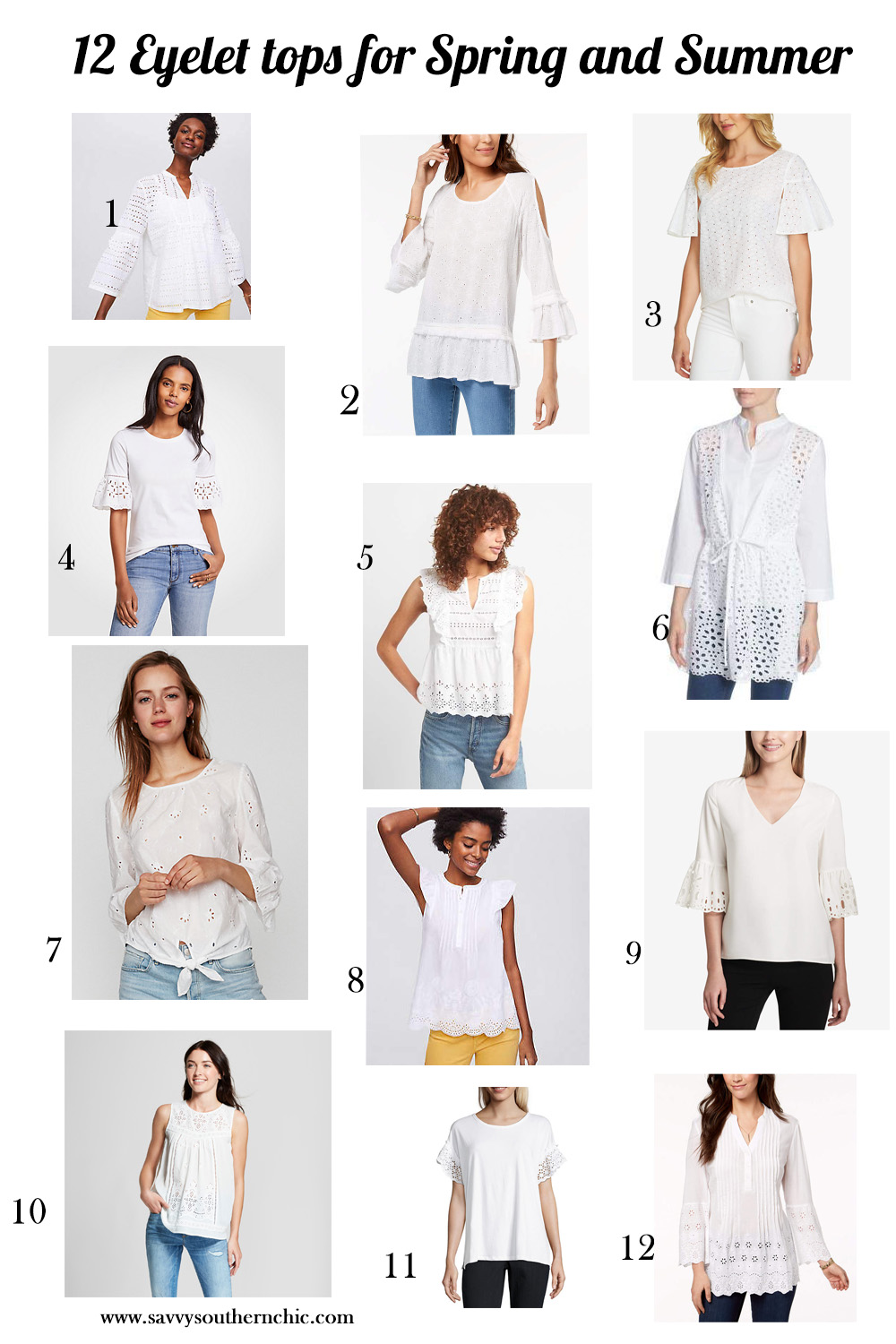 12 Eyelet tops for Spring and Summer
